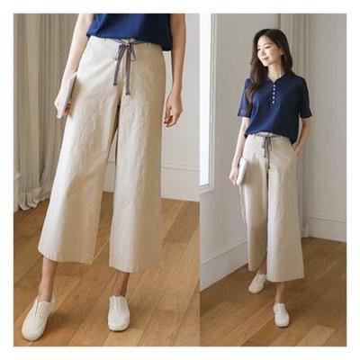 修身絲帶寬褲~3色【kr6220】