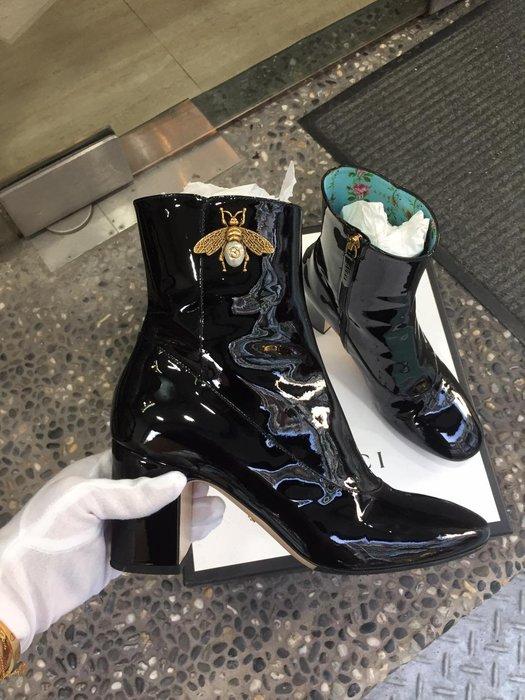 典精品名店 GUCCI 真品 黑色 蜜蜂 高跟 靴子 短靴 尺寸 37 現貨