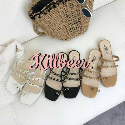 KillBeer:身為名媛的自傲之 品牌同款韓國訂製小香風Chanel氣質搖滾鏈條好走夾腳拖鞋涼鞋topshop 新北市