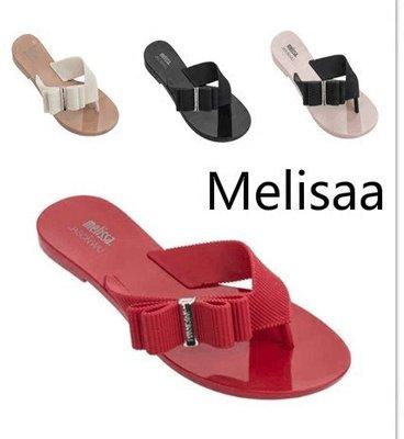 ╭☆包媽子店☆巴西正品Melissa 側邊雙層蝴蝶結果凍人字拖鞋((兩款))