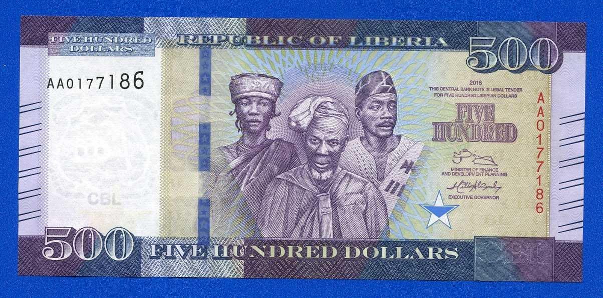 [珍藏世界]賴比瑞亞2016年500元Pnew全新品相