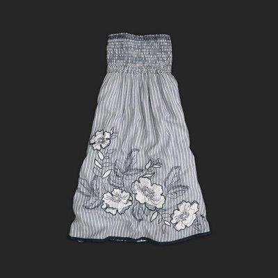 現貨【M美眉 Allie s Luxury 】Abercrombie A&F 露肩花漾刺繡洋裝藍M號 $1000