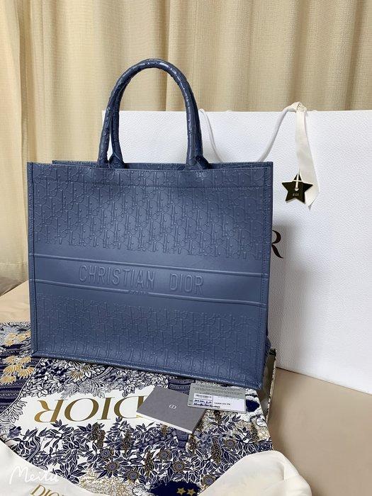 小巴黎二手名牌~真品 DIOR book tote 灰藍色 全皮logo 有台灣保卡 2020購入 櫃上近12萬