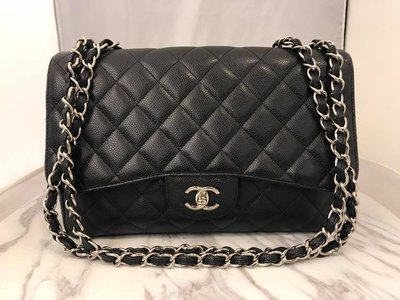 【RECOVER 名品二手SOLD OUT】CHANEL 黑色荔枝皮單蓋銀鍊 COCO MAXI 肩背包