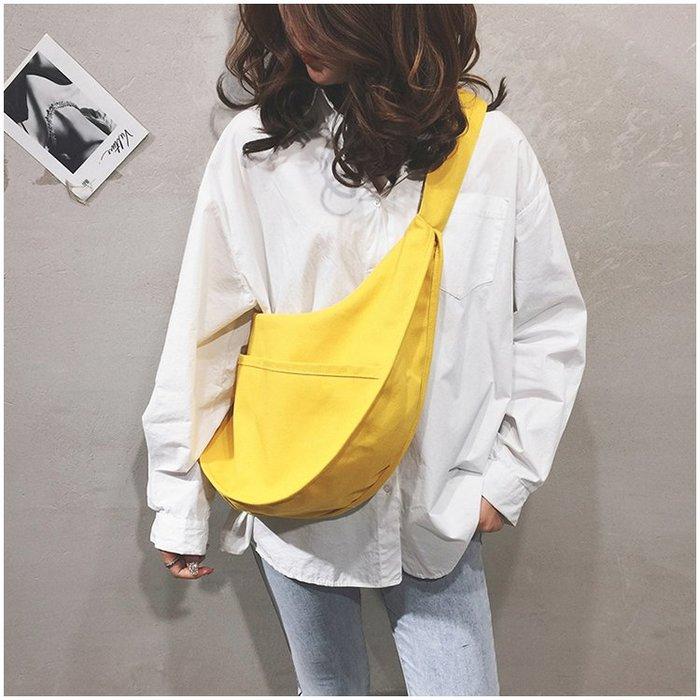 帆布包2019最新韓版慵懶風休閒寬帶簡約大容量斜背包