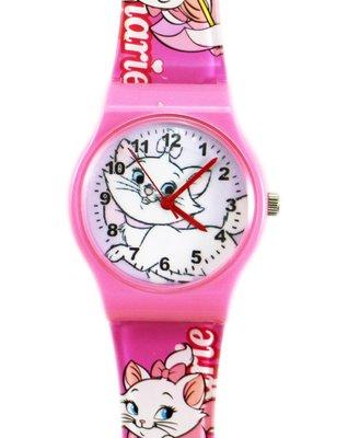【卡漫迷】 瑪莉貓 手錶 大圖 粉框 ㊣版 Marie 瑪麗貓 膠錶 兒童錶 女錶 卡通錶