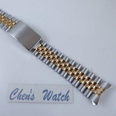 【錶帶家】勞力士 Rolex 16013 16233 18k金電鍍五珠半金 20mm 實心鋼帶 與原廠相同兩邊兩珠實心