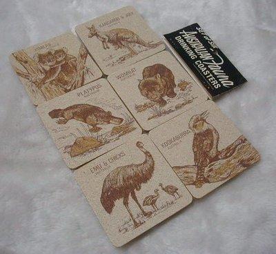 國外購回 樂活 澳洲天然軟木塞動物圖案杯墊六入 袋鼠 袋㷱 笑翠鳥 無尾熊 食火雞 鴨嘴獸
