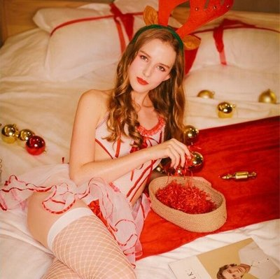 性感護士服紅色系帶白紗睡裙誘惑女仆睡衣套裝WY