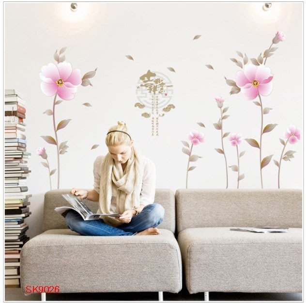壁貼工場-可超取需裁剪 三代特大尺寸壁貼 牆貼室內佈置 花 組合貼 SK 9026