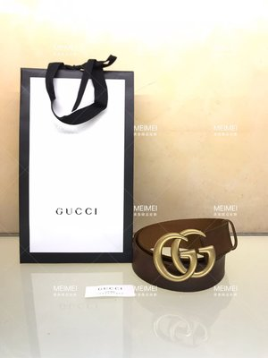 30年老店 現貨 GUCCI Leather belt with double 皮帶 牛皮 復古 80 85 公分 409416