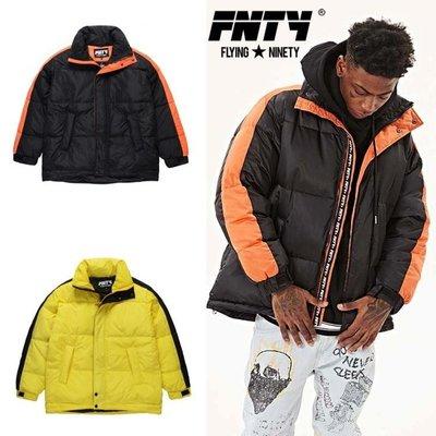 Cover Taiwan 官方直營 FNTY 連帽外套 羽絨衣 條紋 鋪棉 保暖 嘻哈 黑色 橘色 黃色 (預購)