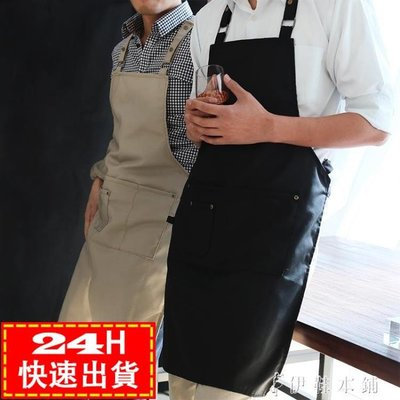 現貨出清簡約美式工裝圍裙可調節時尚男女通用咖啡店工作餐廳袖套 10-29