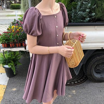 平口公主袖洋裝 設計款遮肚連身裙 艾爾莎  【TGK7661】