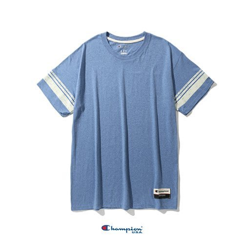Champion AO300 復古混紡條紋 /  麻灰藍