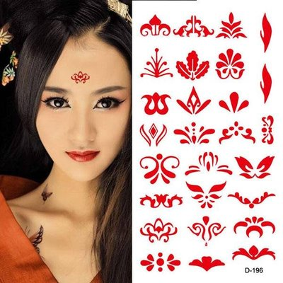 4pcs Tattoo Sticker Temporary label Between The Eyebrows