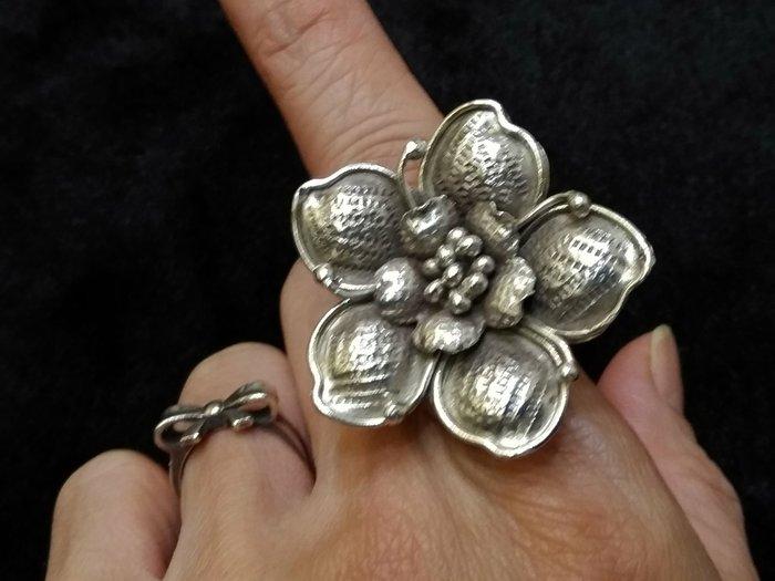 純手工銀飾戒指 花開富貴 可調整尺寸
