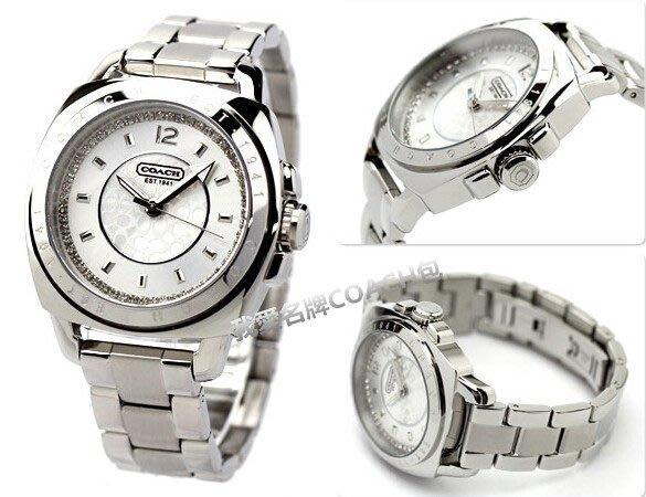 我愛名牌COACH包 美國100%正品【清倉低價出售購買兩件免運】 大錶盤鋼帶 鍍金腕錶鑲鑽女錶