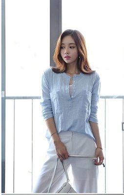 韓版荷包麻棉長袖襯衫(單色淺藍色)**y151527845 J-11998