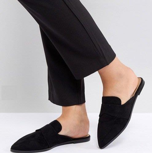 ◎美國代買◎ASOS麂皮皮帶裝飾英倫時尚學院風麂皮尖頭平底鞋拖鞋~歐美街風~大尺碼