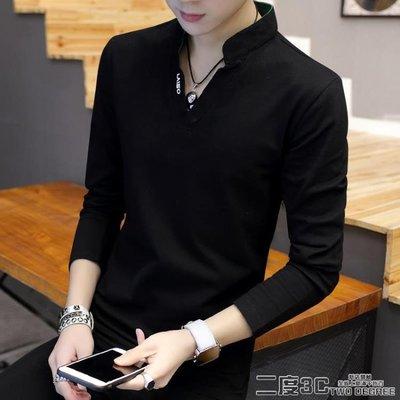 男士V領T恤 男士t恤長袖V領上衣服小衫 裝韓版修身百搭打底衫潮流衛衣 3C