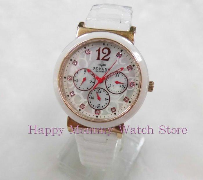 【 幸福媽咪 】網路購物、實體服務 DEVANO 帝凡諾 藍寶石 三眼計時 陶瓷錶,38mm DV-2599