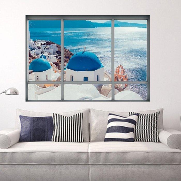 暖暖本舖 海邊的大城堡 假窗戶 假牆壁貼 簡易裝潢貼 創意裝飾貼 藝術牆壁貼 書櫃壁貼紙 防水壁貼 裝潢貼紙 DIY壁貼