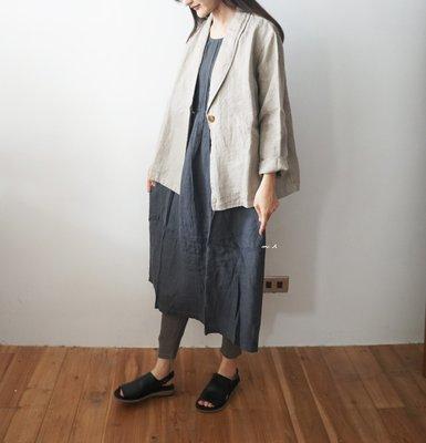 MH選物室 DAYS 日本製 全麻 炭色 長板 領口 抓皺 設計 洋裝
