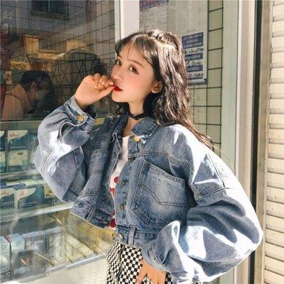 牛仔外套 春季韓版蝙蝠袖牛仔外套女復古百搭寬鬆長袖短款夾克上衣