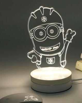 《鐵鐫創意》立體3D視覺光雕櫸木座燈‧小夜燈‧療癒氣氛燈-聖誕禮物‧情人節禮物‧生日禮物‧喬遷新居賀禮-小小兵款