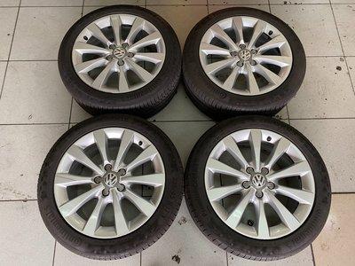 原廠鋁圈 鋁圈含胎 奧迪 福斯 17吋鋁圈 5孔112 235/45-17 PC6 馬牌輪胎 8成新 PASSAT