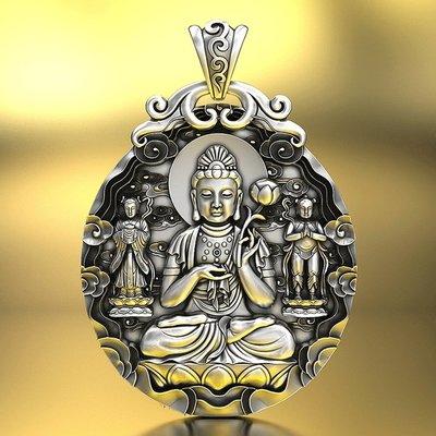【睿智精品】990銀飾 神像 佛像 大勢至菩薩吊墜 十二生肖屬(馬)本命佛(GA-4827)