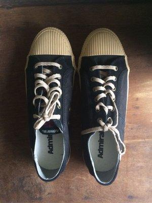 admiral 英國潮牌 帆布鞋 黑短筒