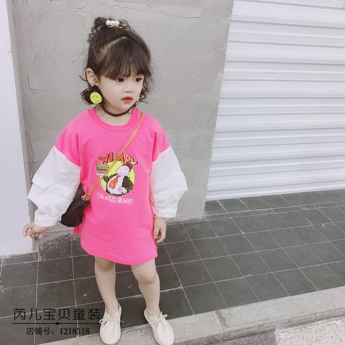 韓版童裝女童韓國春季新品可愛卡通長袖連衣裙衛衣裙公主裙