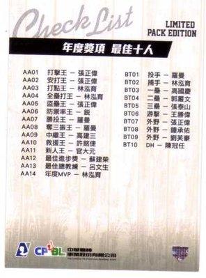 2012 中華職棒 年度球員卡 CHECK LIST 年度獎項 最佳十人 散包限定