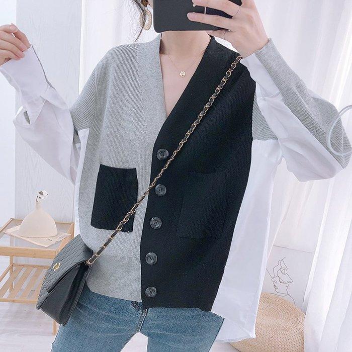 韓國小衆設計感拼接襯衣針織開衫女寬鬆v領前短後長外套