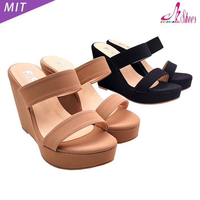拖鞋【CM日韓鞋館】【023-UZ708】MIT簡約一字雙寬帶楔型拖鞋.黑/粉 10cm