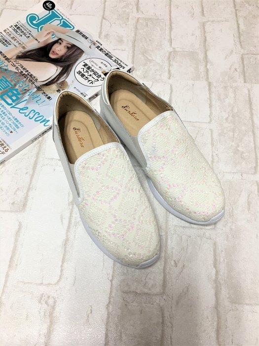 現貨出清~台灣手工製 全真牛皮蕾絲亮片厚底休閒鞋–白色 6557-4   米蘭風情