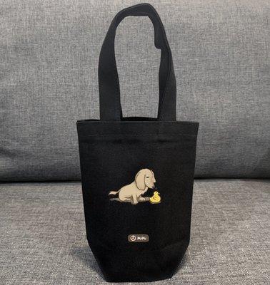 黑色系列《臘腸-鴨鴨》台灣製棉麻布 杯套 提袋 插畫 柴犬 寵物 聖誕節 / 蒼蠅星球 / 手創市集