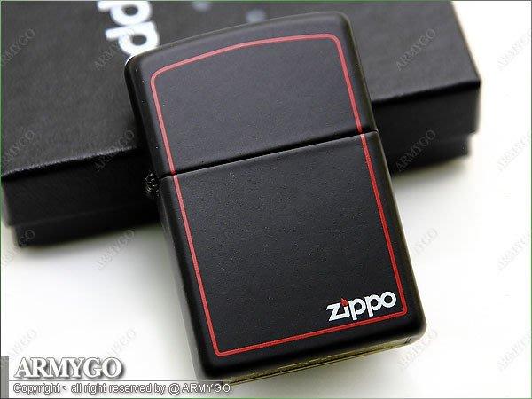 【ARMYGO】ZIPPO原廠打火機-黑色拷漆紅邊 No.218ZB