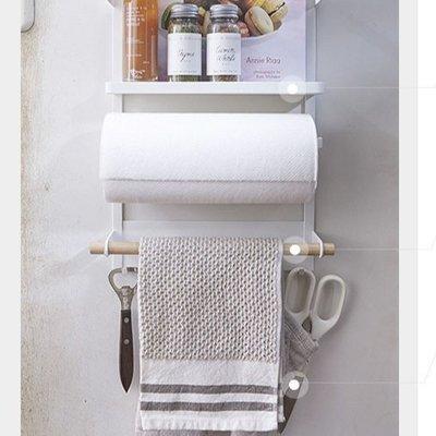 日式白色簡約廚房小物磁鐵冰箱收納架多功能置物架