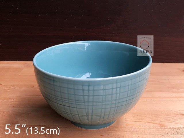 +佐和陶瓷餐具批發+【8218PX05-5.5 5.5吋格線飯碗-龍泉藍】系列餐具 飯碗 麵碗 餐廳用盤 營業餐具