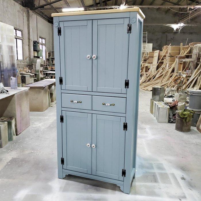 美生活館 家具訂製 鄉村風格 茵儷 雙色 淺木加藍灰色 兩抽四門 高鞋櫃 收納櫃 玄關櫃 置物櫃 衣帽櫃