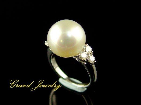 女人專屬的寶石 頂級南洋珍珠 海水真珠 白珠13.1mm 鑽石戒指 18K白金 附保證書【大千珠寶】台北五十年寶石專賣店