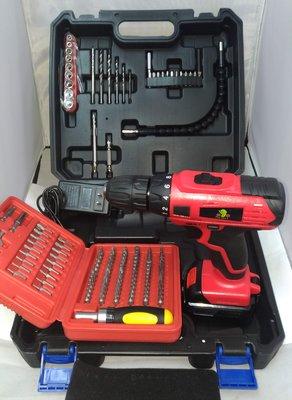 鋰電電鑽 鐵拳 21V雙電池 紅色套裝 附塑盒 鑽頭套筒組 101件起子頭組 充電電鑽/電動起子/電動工具 保固半年