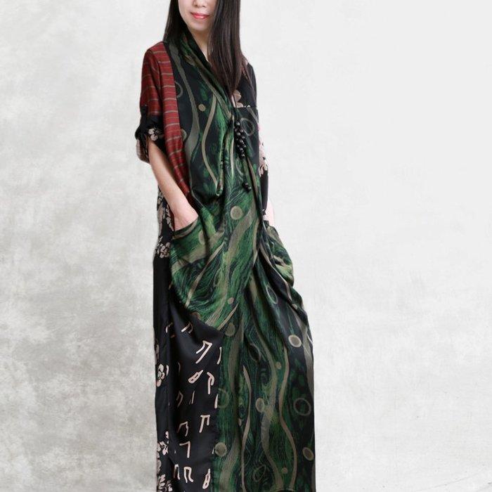 春夏新款原创桑蚕丝衣裙解构拼接印花民族風文藝范中袖长裙