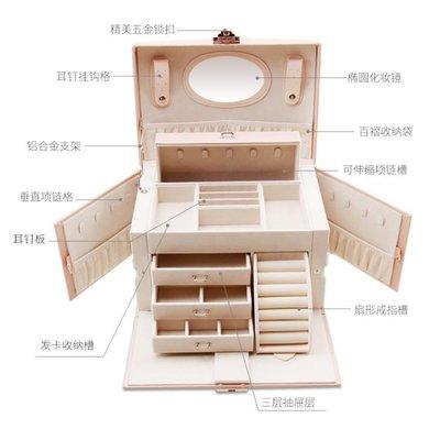 首飾盒 首飾盒公主歐式韓國耳環耳釘項?手飾品收納盒子女大容量結婚禮物   全館免運