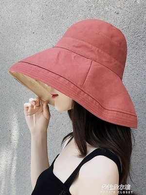 ZIHOPE 帽子女季韓版百搭出游遮陽帽防曬紫外線大沿遮臉日繫漁夫帽女夏ZI812