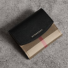 Burberry House Check and Leather wallet銀包 短銀包 錢包