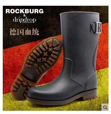 DRIPDROP男士中高筒雨鞋 男雨靴 雨鞋 時尚雷神功能雨靴水鞋套鞋膠鞋防水鞋防滑雨靴